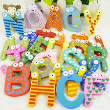 26 Magnetic Letters A-Z Wooden Fridge Magnets Baby Kid Education Toys Novelty