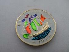 VINTAGE HAND PAINTED HALF PENNY COIN 1966. LUCKY CHARM. GREAT BIRTHDAY GIFT