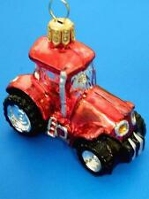 MINI RED INTERNATIONAL FARM TRACTOR EUROPEAN BLOWN GLASS CHRISTMAS TREE ORNAMENT