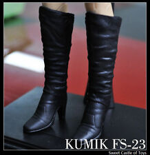 1/6 Kumik Action Figure Accessory Female Long Black Boots FS-23 for DAM Phicen
