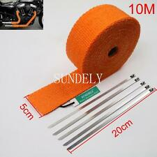"2"" Orange 10Meter Exhaust Header Fiberglass Heat Wrap Tape+5 Ties Kit"