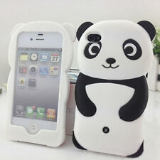 Great Cute Black Soft Gel Silicone Rubber 3D Panda Case Cover For iPhone 6 6S