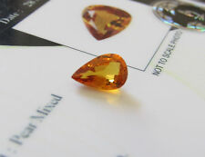 Excellent Certified Eye Clean 1.34ct Medium Yellowish Orange Pear Cut Sapphire.