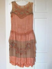 Authentic Vintage 1920's Silk Embroidered & Applique Flapper Dress, Needs Repair
