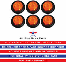 """QTY 6 - 2.5"""" Round Side Marker Clearance Light 12 LED Amber Grommet Pigtail Kit"""