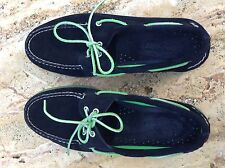 SPERRY TOP-SIDER A/O 2-EYE ICE SUEDE BLACK/GREEN BOAT SHOES SZ 10M  024