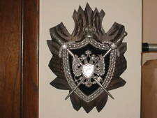 """Vtg COAT OF ARMS Metal & Wood Shield Crest Wall Art Hanging 11"""" x 15"""" Russian?"""