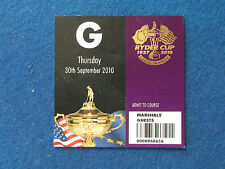 Ryder Cup 2010 - Celtic Manor - Marshal's Guest Ticket - 30/9/10
