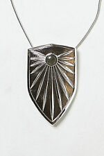Anthropologie Brass Shield Pendant Necklace, Statement Silver Tone Knights Of NY