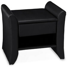 CORIUM Night table With Drawer Black Artificial Leather Bedside table Side table