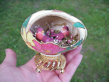REAL Hand Decorated Carved Goose Egg Collectible Mushroom Moss Bird Flowers Gift