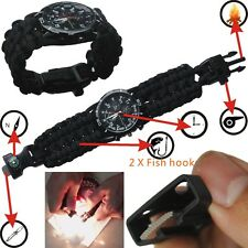 NEW Army Camping Watch Paracord Bracelet 550 Watch Wristwatches Band compass