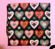 fat quarter of cotton poplin with large fancy pink and grey hearts on grey