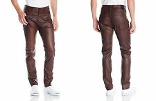 Men's TRUE RELIGION brown Dean tapered leather like relaxed Pants size 44 x 32
