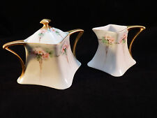 Antique Limoges France - Pink Floral Bouquet- Creamer and Sugar