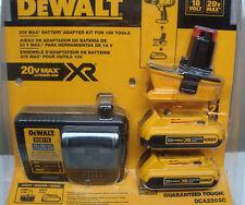 Dewalt DCA2203C 18V-20V Battery Adaptor w/Two 20V Max 2.0 Ah Batteries & Charger