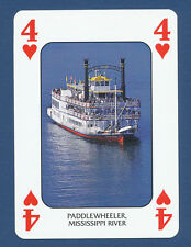 Paddlewheeler Mississippi River boat playing card single four hearts - 1 card