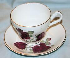 Vintage Consort Fine Bone China Tea Cup Saucer Set England Red Roses Gilt Trim