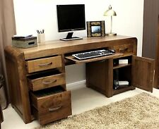 Shiro solid walnut dark wood furniture large office PC computer desk