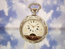 WOW! Nice Antique Hebdomas 8 Jours Swiss Pocket Watch Holy FRS High Releif Case