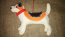 Handmade BEAGLE DOG felt xmas tree decoration NEW shabby chic hound