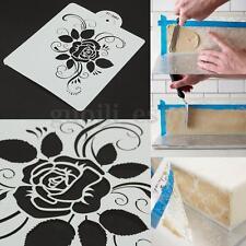 Rose Flower Cake Stencil Mold Fondant Side Cookie Carved Sugarcraft DIY Decor