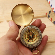Brass Pocket Watch Style Outdoor Camping Hiking Compass Navigation Keychain EW
