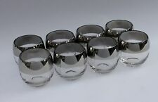 Vintage Dorothy Thorpe Style  Roly Poly Mid Century Silver Rim Glasses Set of 8