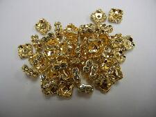 48 Swarovski Xilion squaredelle rhinestone rondelles 8mm Jonquil / Gold