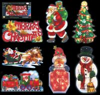 METALLIC XMAS DOUBLE SIDED WINDOW LED SILHOUETTE CHRISTMAS FESTIVE DECORATIONS