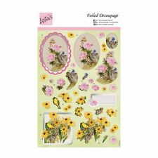 ANITAS FOILED DECOUPAGE FLOWERS AND BIRDS TOPPERS FOR CARDS & CRAFTS
