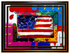 PETER MAX Original signed PAINTING FLAG WITH HEART Art USA America Liberty Head