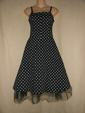 SUPER LOW FAT Vtg USA S Black Polka Dot Rockabilly Swing Party Dress Pin-Up 50s