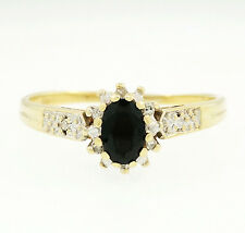 9Ct Yellow Gold Sapphire(0.58ct) & Diamond(0.05ct) Cluster Ring (Size T)