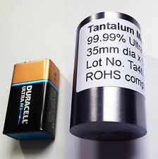 Tantalum Metal 99.99% Pure 35 dia x 55 mm Museum Grade Cylinders!  894g weight