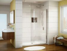 "FLEURCO 34"" x 75"" BANYO SIENA SOLO 1/4"" CURVED FRAMELESS SHOWER SHIELD DOOR"