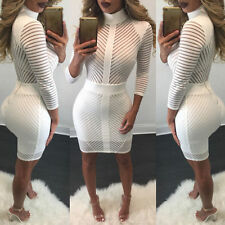 Abito cono nudo trasparente aderente Party Ballo Mini Striped Bodycon Dress L