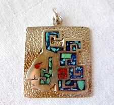 Vintage TAXCO Pendant Mayan Warrior Face Overlay Turquoise & Coral Mosaic SIGNED