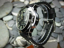 22mm NEW COW LEATHER STRAP BLACK WATCH BAND PAM 22 White Stitch X1