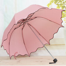 Flouncing Folding Lotus Leaves Princess Dome Parasol Sun/Rain Umbrella Pink New