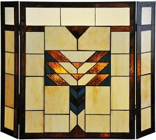 Fireplace Screen Decorative Three Panel Mission Tiffany Style Stained Glass NEW