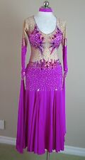 Ballroom Dance Competition Pageant Gown Smooth Fuchsia Nude Crystals Medium