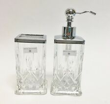 NEW HOTEL BALFOUR 2 PC SET CLEAR 3D GLASS CRYSTAL CUT SOAP DISPENSER+TUMBLER