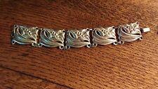 """Vintage Jewelart Sterling Silver Flower Panel Bracelet, 7"""""""