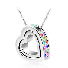 NEW Women Double Heart Mix Crystal Silver Charm Pendant Chain Necklace IB3S9