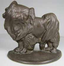 Old PEKINGESE Figural Dog Bronze Brass Doorstop Bookend Decorative Art Statue