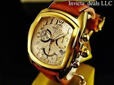 Invicta Men's Dragon Lupah SWISS Chronograph Silver Dial SS Leather Strap Watch