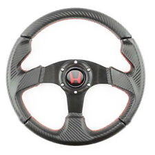 Perforated 320mm PVC Carbon Black w/ Red Stitch Steering Wheel Red H Horn Button