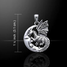 Slumbering Dragon on Moon .925 Sterling Silver Pendant by Peter Stone