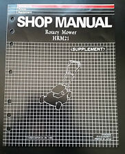 Honda HRM21 Rotary Mower Shop Manual Supplement